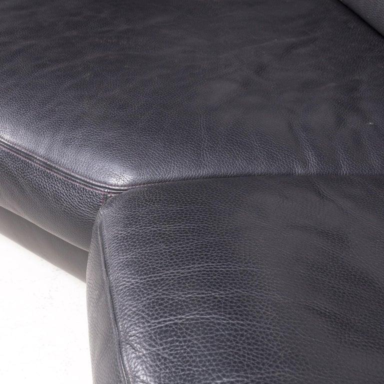 Artanova Medea Designer Black Leather Corner Sofa Couch 1