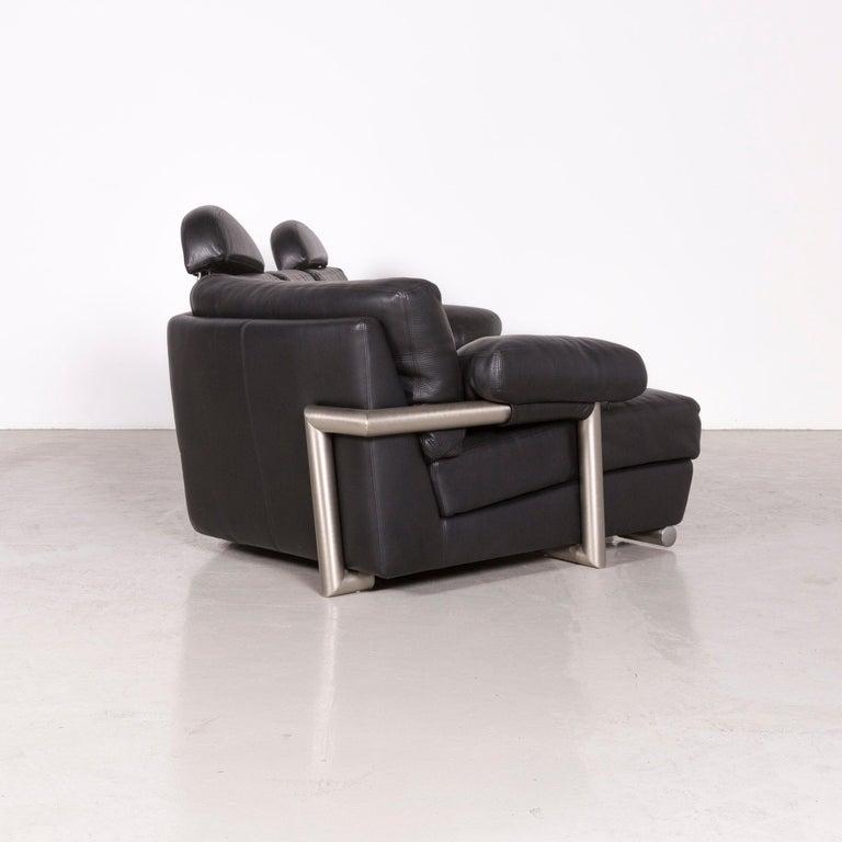 Artanova Medea Designer Black Leather Corner Sofa Couch 3