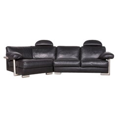 Artanova Medea Designer Black Leather Corner Sofa Couch