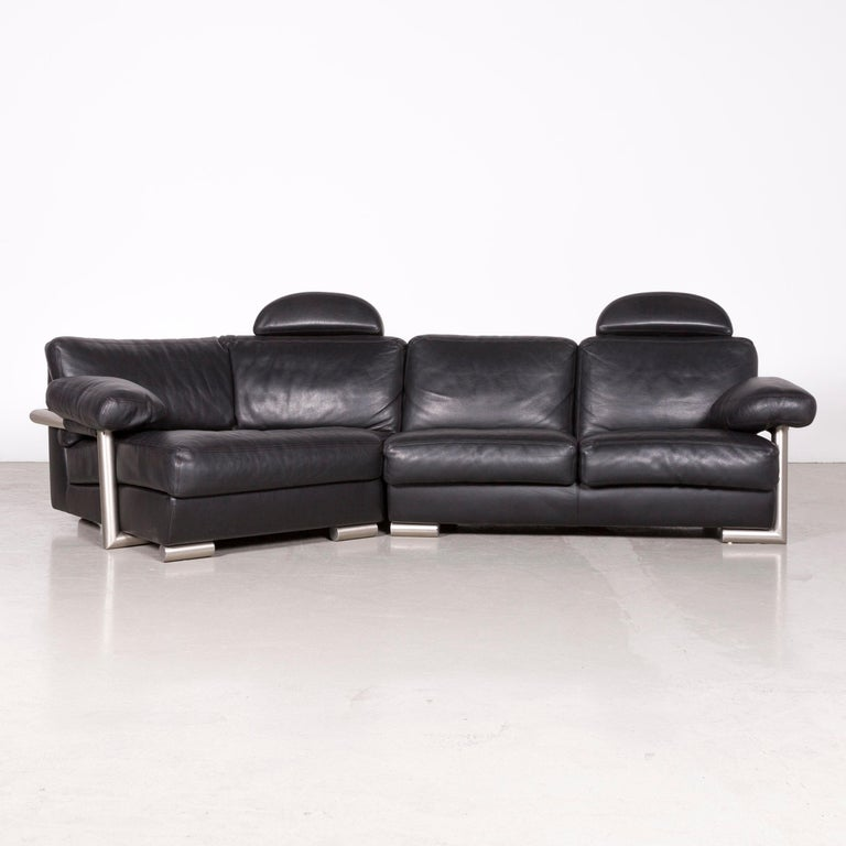 Artanova Medea Designer Black Leather Corner Sofa Couch