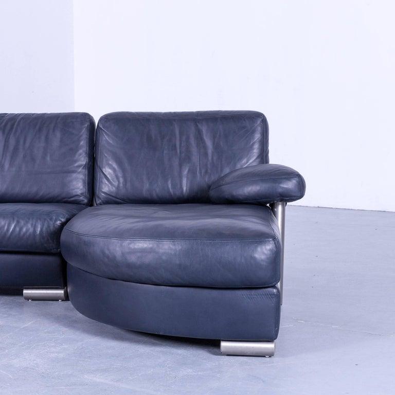 Modern Artanova Medea Designer Blue Leather Corner Sofa Made In Switzerland For