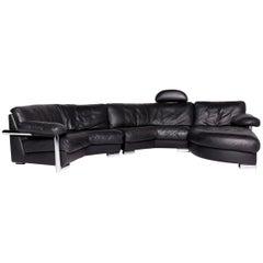 Artanova Medea Designer Leather Corner Sofa Black Genuine Leather Sofa Couch