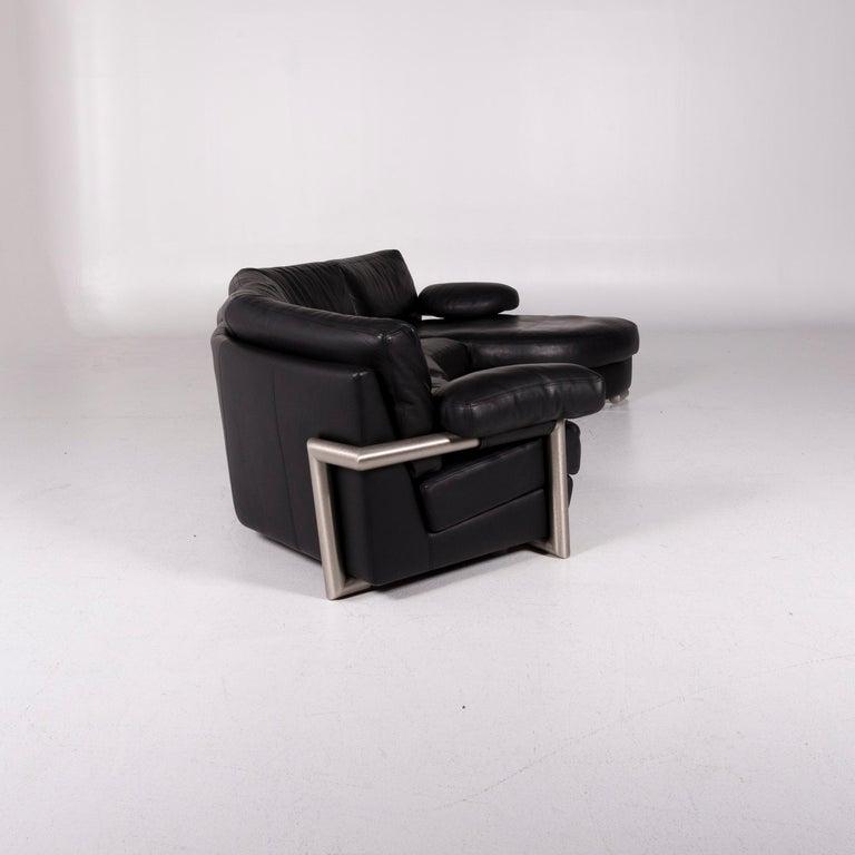 Artanova Medea Leather Corner Sofa Black Sofa Couch 4
