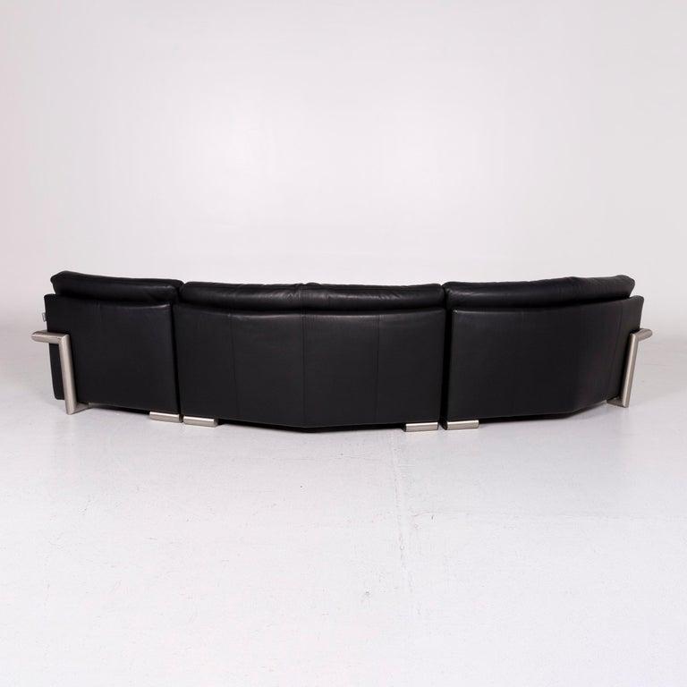 Artanova Medea Leather Corner Sofa Black Sofa Couch 5