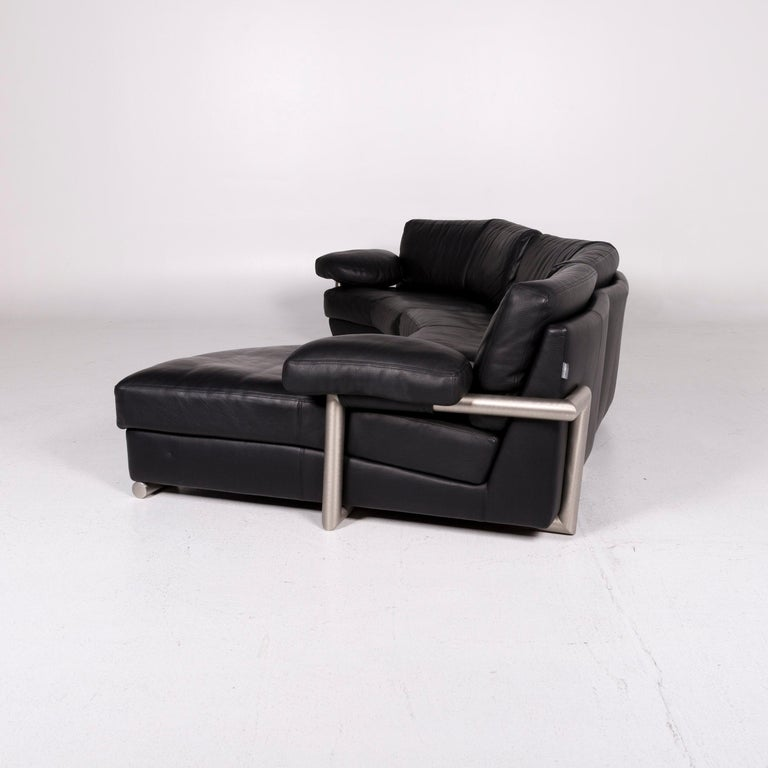 Artanova Medea Leather Corner Sofa Black Sofa Couch 6