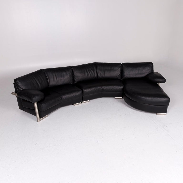 Modern Artanova Medea Leather Corner Sofa Black Sofa Couch