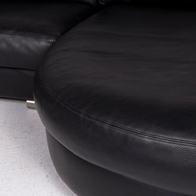 Swiss Artanova Medea Leather Corner Sofa Black Sofa Couch