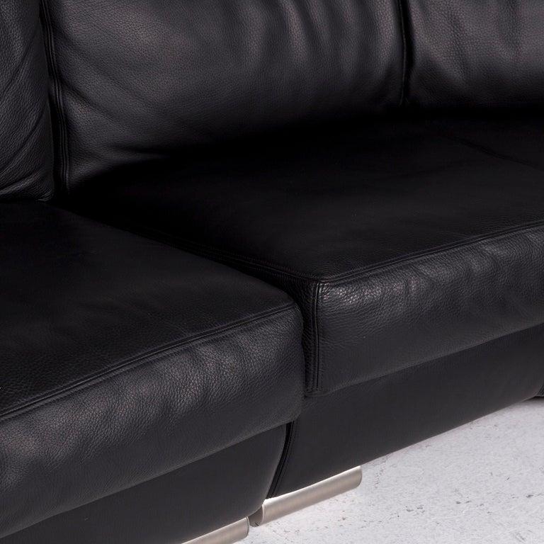 Artanova Medea Leather Corner Sofa Black Sofa Couch In Good Condition In Cologne, DE