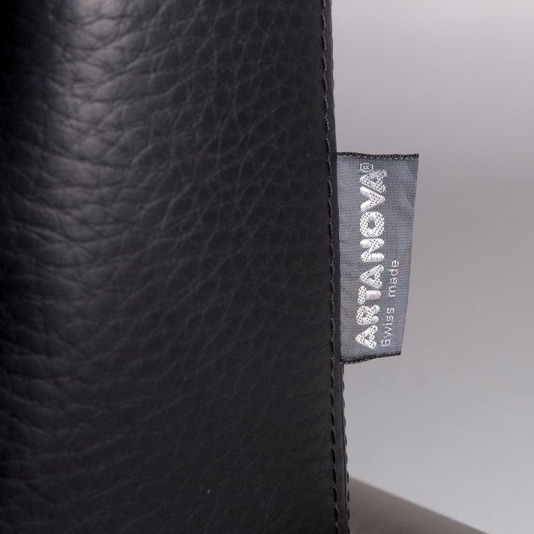 Artanova Medea Leather Corner Sofa Black Sofa Couch 1