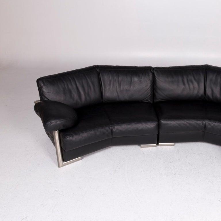 Artanova Medea Leather Corner Sofa Black Sofa Couch 2