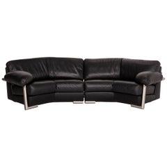Artanova Medea Leather Corner Sofa Black Sofa Couch Michael C. Brandis