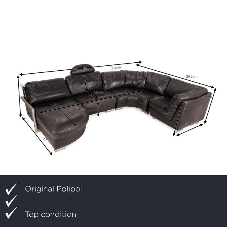 We present to you an Artanova Medea leather sofa black corner sofa black couch headrest.    Product measurements in centimeters:    Depth: 96 Width: 207 Height: 74 Seat height: 40 Rest height: 46 Seat depth: 48 Seat width: 120 Back