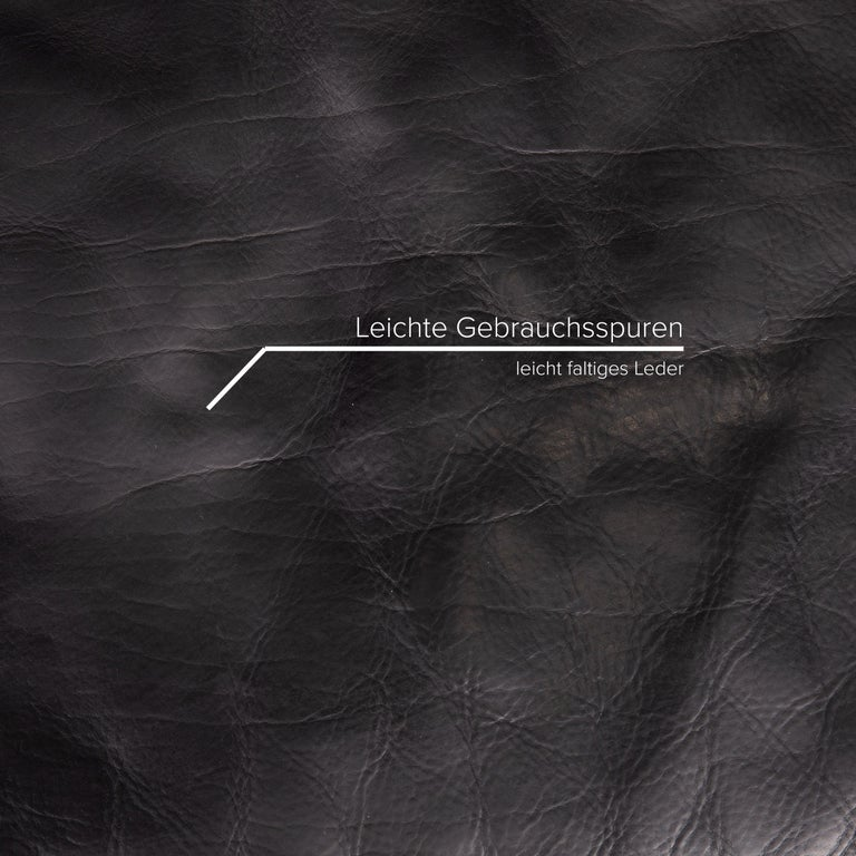 Swiss Artanova Medea Leather Sofa Black Corner Sofa Black Couch Headrest For Sale