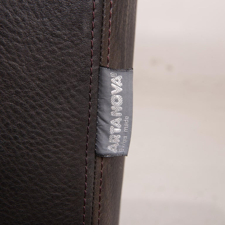 Contemporary Artanova Medea Leather Sofa Black Corner Sofa Black Couch Headrest For Sale