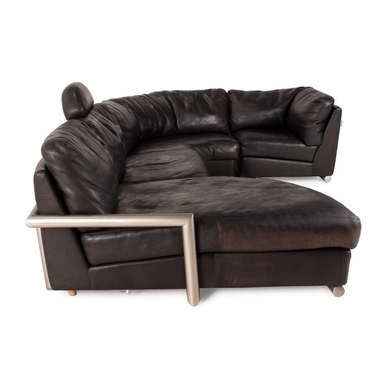 Artanova Medea Leather Sofa Black Corner Sofa Black Couch Headrest For Sale 1