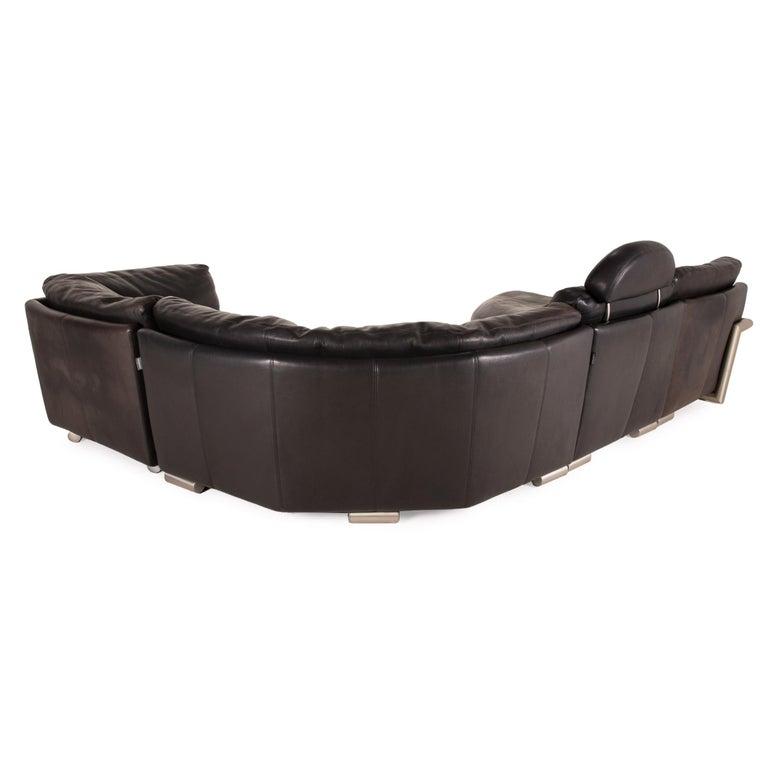 Artanova Medea Leather Sofa Black Corner Sofa Black Couch Headrest For Sale 2