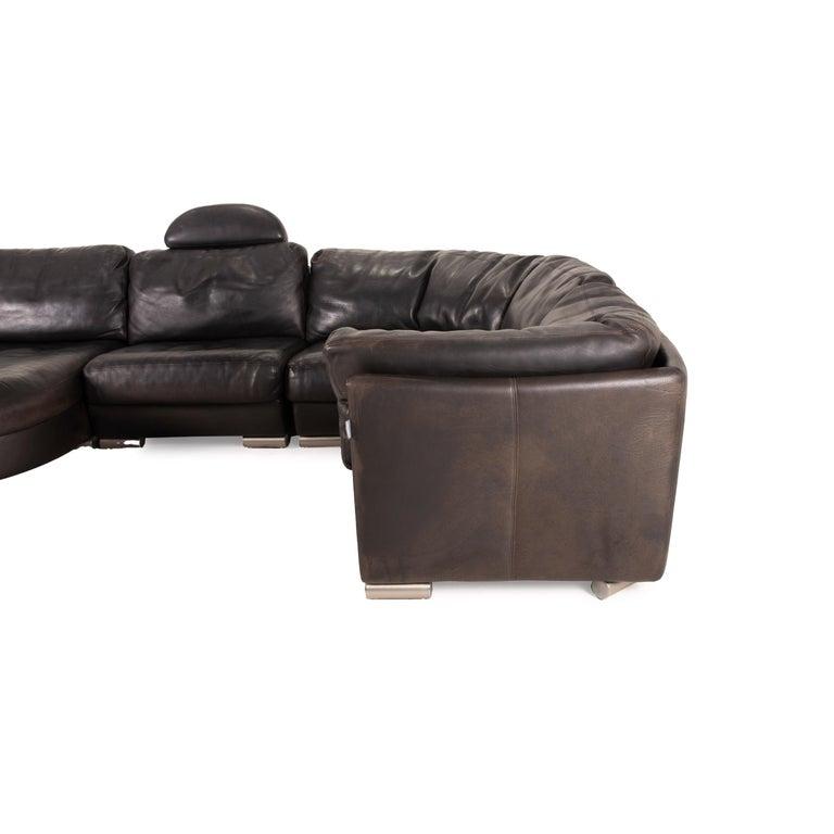 Artanova Medea Leather Sofa Black Corner Sofa Black Couch Headrest For Sale 3