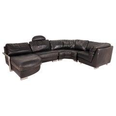 Artanova Medea Leather Sofa Black Corner Sofa Black Couch Headrest