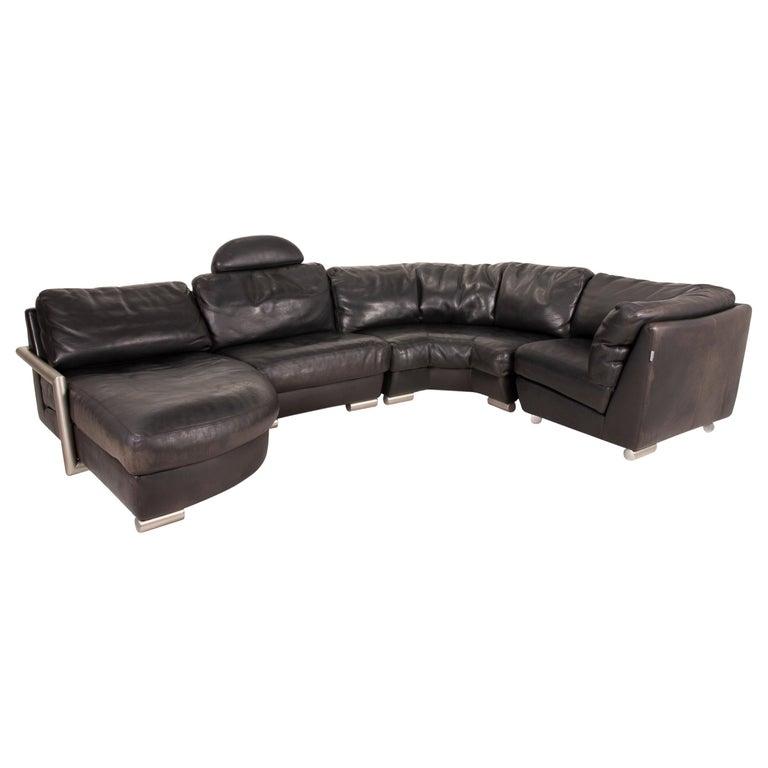 Artanova Medea Leather Sofa Black Corner Sofa Black Couch Headrest For Sale