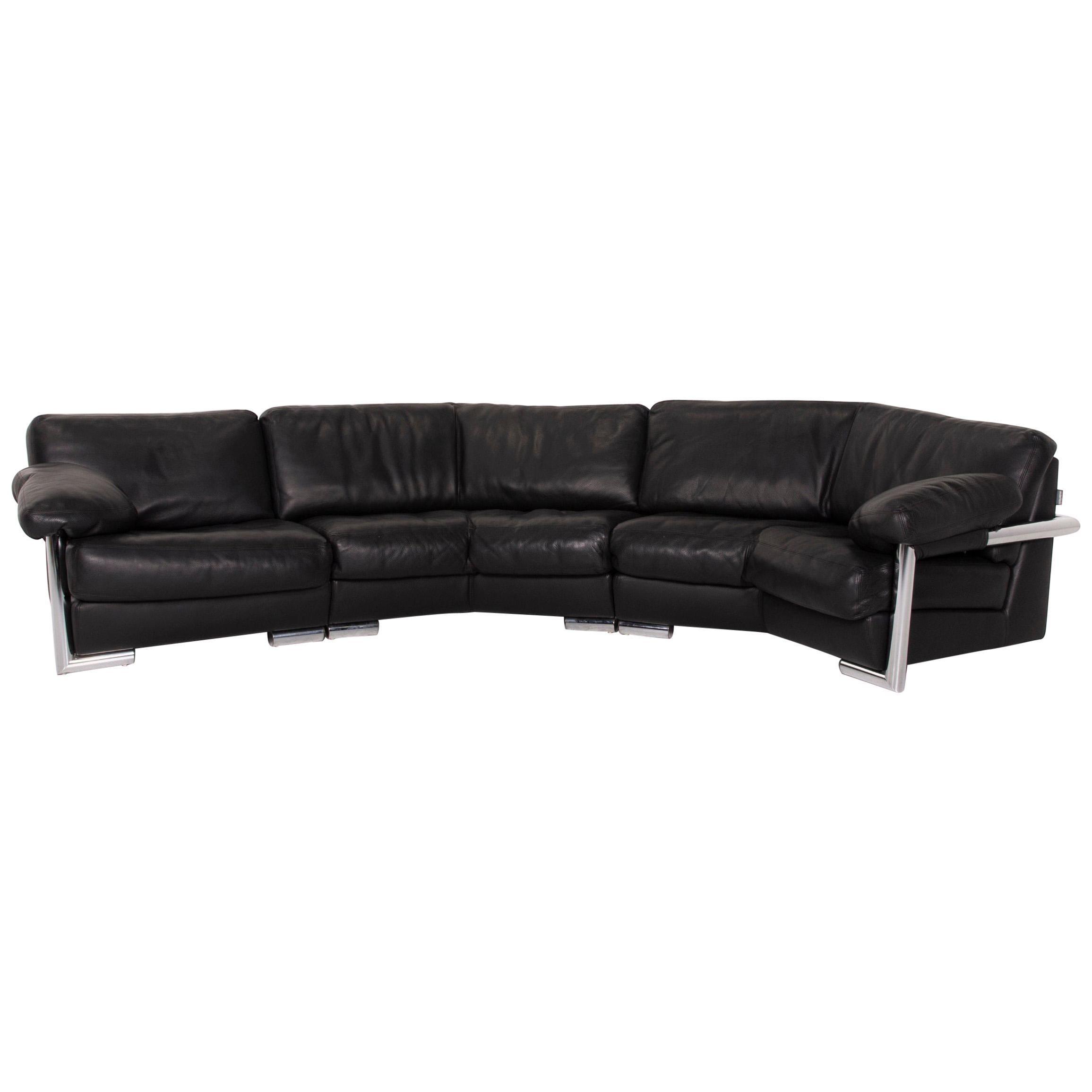 Artanova Medea Leather Sofa Black Corner Sofa