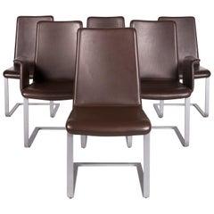 Artanova Uranos Leather Chair Set Brown 6 Armchair