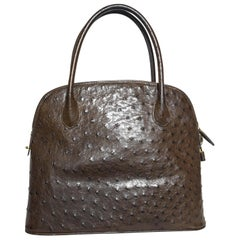 Artbag Brown Ostrich Leather Top Handle Satchel