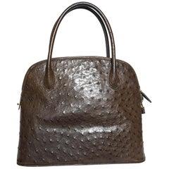 Artbag Brown Ostrich Leather Top Handle Satchel