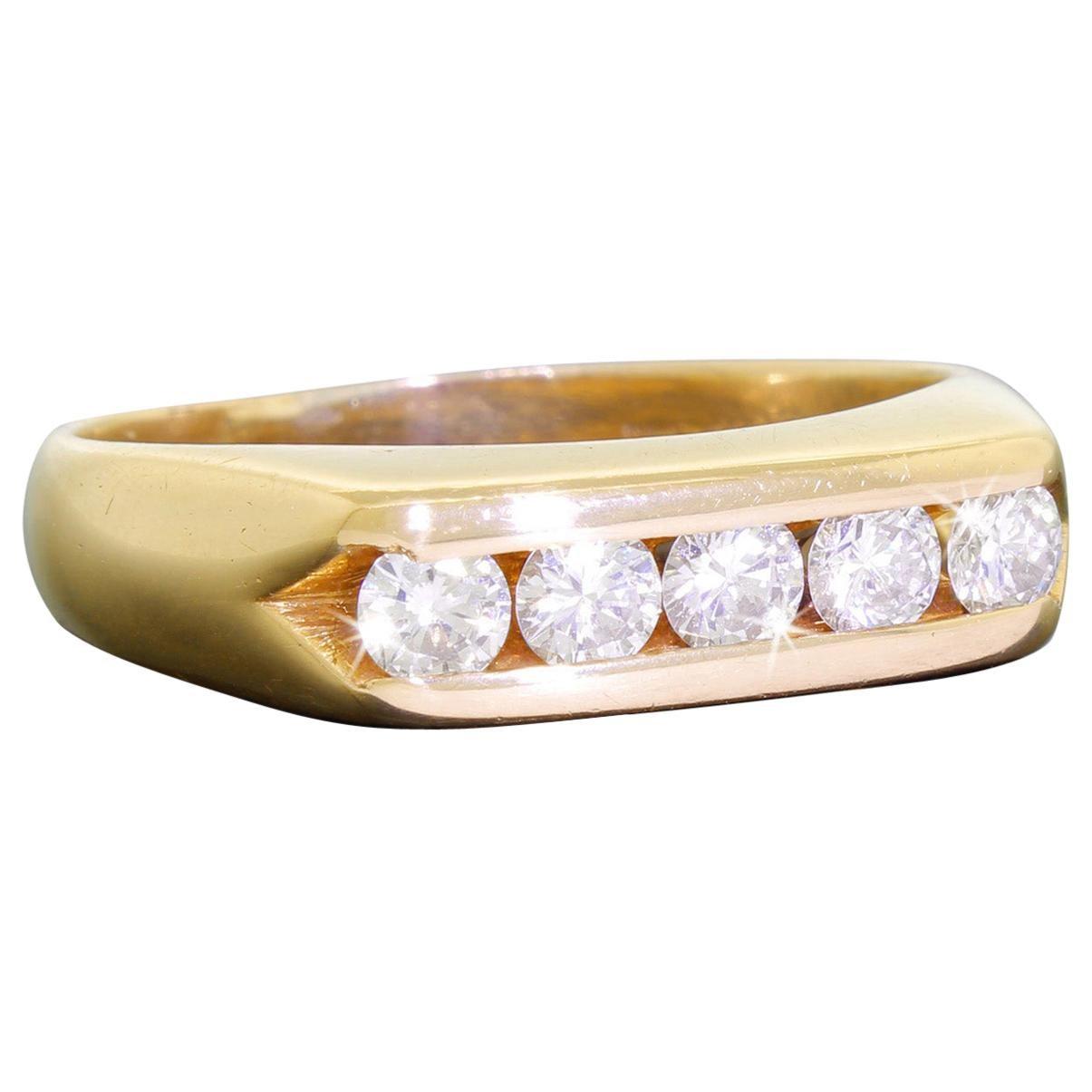 Artcarved Men's 14 Karat Gold Band Ring with 5 Quality Diamonds 0.75 Carat