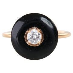 Artdeco Black Enameled 0.30 Carat Diamond Stackable Ring