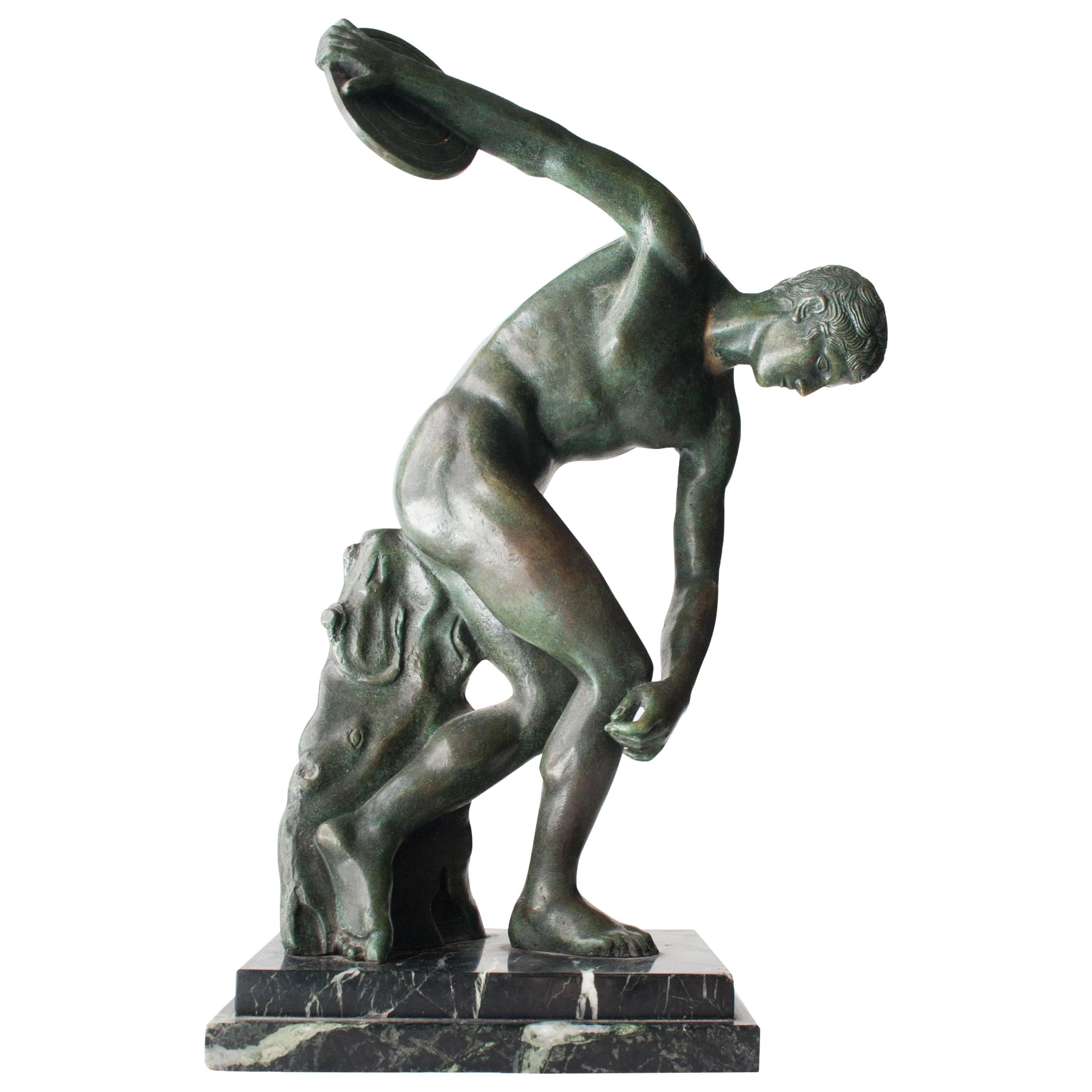 Art Deco Discobolo Bronze Green Indian Marble French Sculpture, 1920