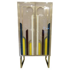 Artdeco Murano Italy Cabinet, Multicolor Murano Glass, 50s