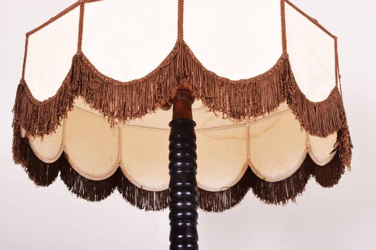 Czech Art Deco Oak Floor Lamp, Period 1920-1929, Shellac Polish For Sale