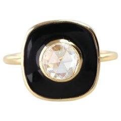 Artdeco Style 0.66 Carat Rose Cut Diamond Gold Ring with Black Enameled