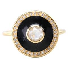 Artdeco Style 14 Karat Yellow Gold Rosecut Diamond Ring