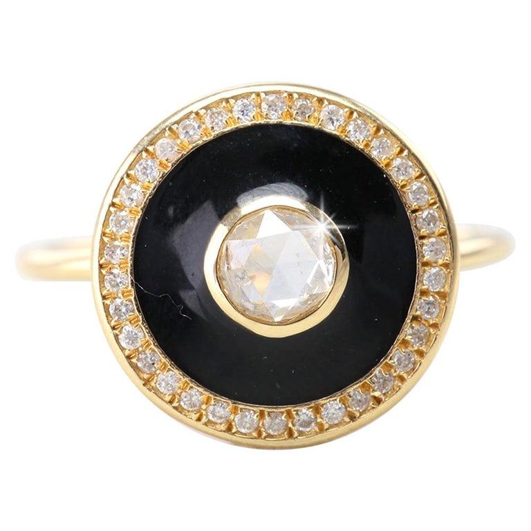 Artdeco Style 14 Karat Yellow Gold Rosecut Diamond Ring For Sale