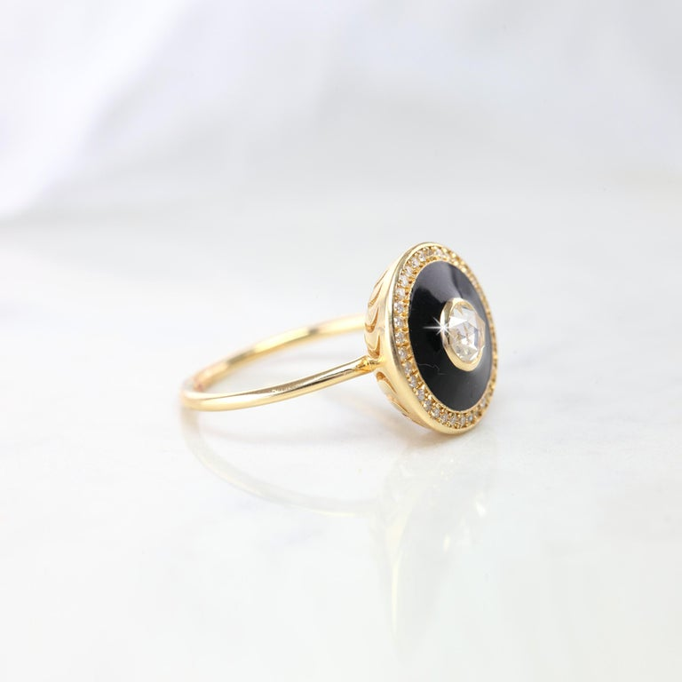 Artdeco Gold Ring, 14K Yellow Gold Artdeco Rosecut Diamond Ring, Artdeco Rosecut Black Enameled Yellow Gold Ring With Side Pave Setting created by hands from ring to the stone shapes. I used brillant black enameled style to reveal a artdeco style