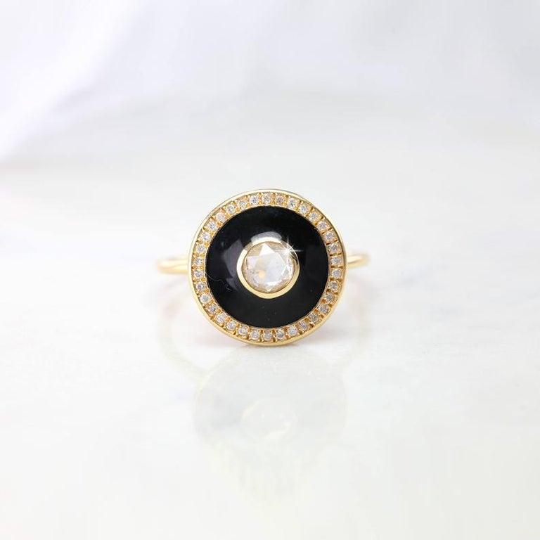 Art Deco Artdeco Style 14 Karat Yellow Gold Rosecut Diamond Ring For Sale