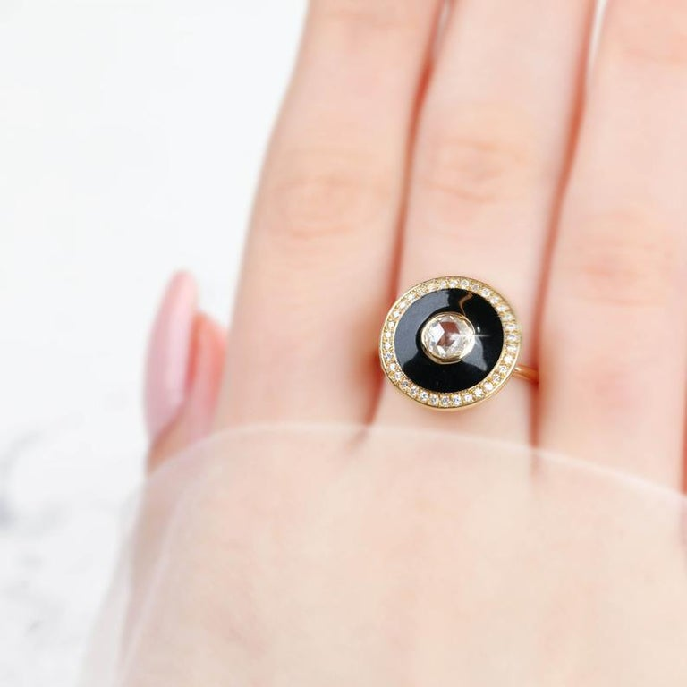 Artdeco Style 14 Karat Yellow Gold Rosecut Diamond Ring In New Condition For Sale In ISTANBUL, TR