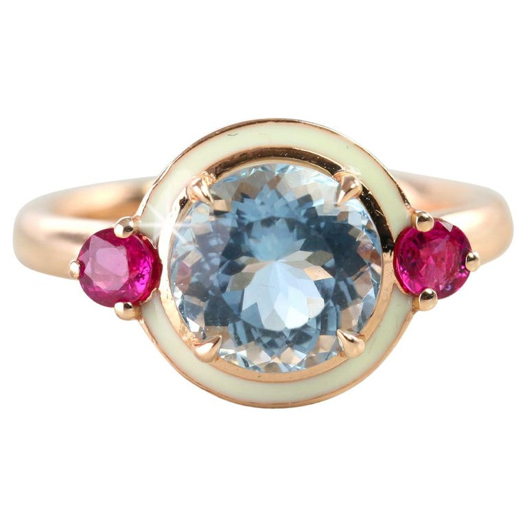 Artdeco Style 3.04 Carat Aquamarine and 0.38 Carat Ruby Enemaled Cocktail Ring For Sale