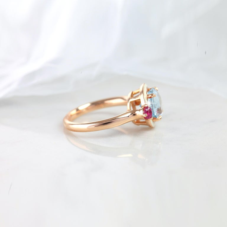 Artdeco Aquamarine Ring, Aquamarine With Ruby Artdeco Style Enameled Ring, Cocktail Ring created by hands with great honour. I used brillant round cut ruby to reveal a round cut aquamarine. I completed these in 14K solid excelent rose gold