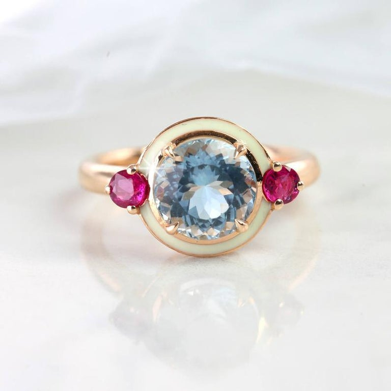 Round Cut Artdeco Style 3.04 Carat Aquamarine and 0.38 Carat Ruby Enemaled Cocktail Ring For Sale