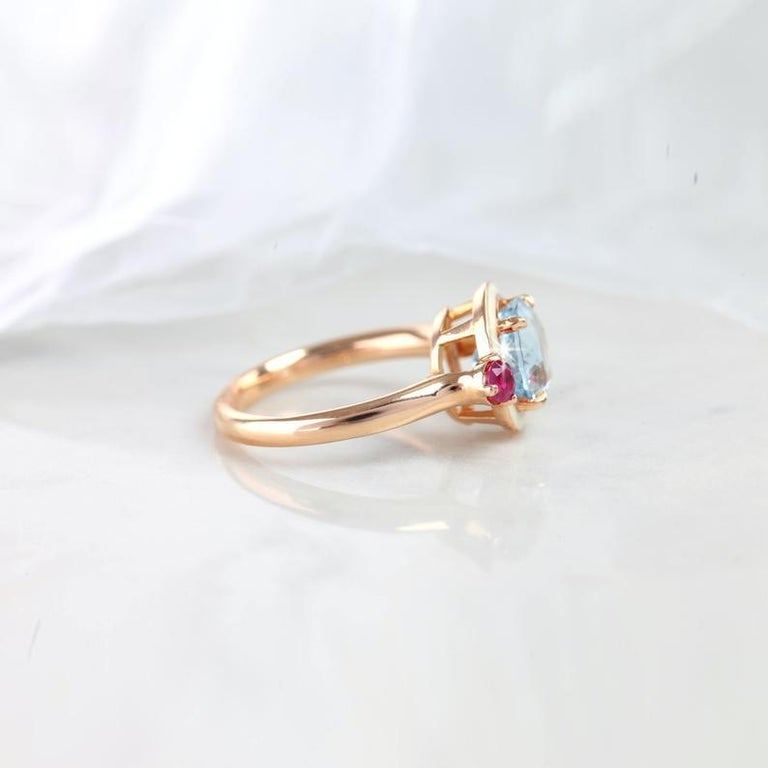 Artdeco Style 3.04 Carat Aquamarine and 0.38 Carat Ruby Enemaled Cocktail Ring In New Condition For Sale In ISTANBUL, TR