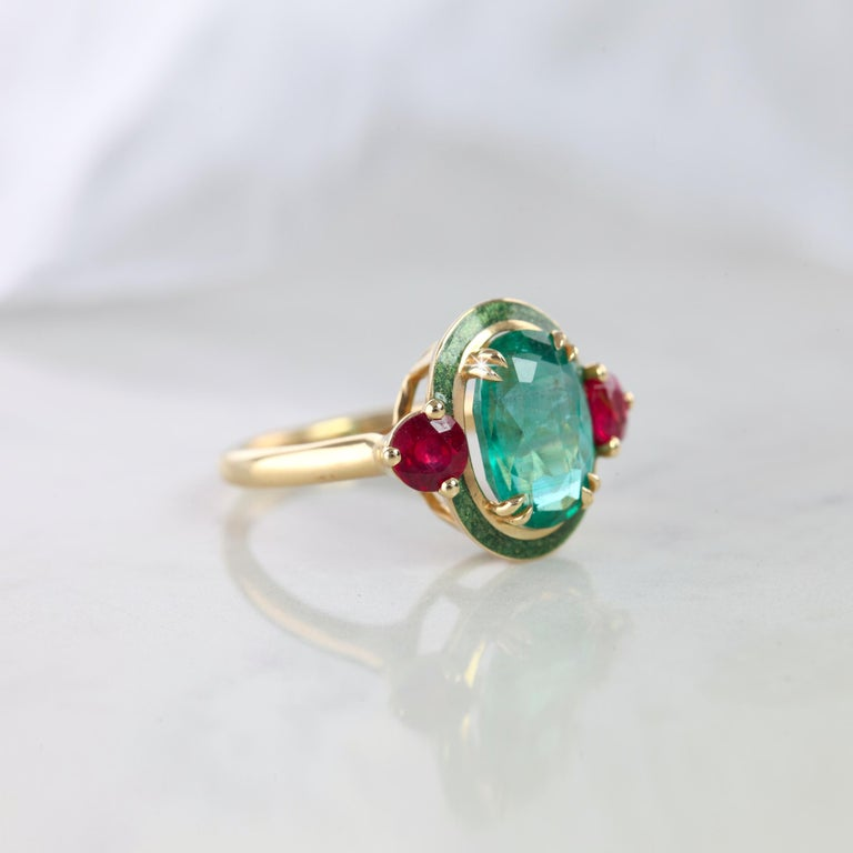 Artdeco Style Emerald Ring, Oval Emerald And Ruby With Green Enameled Cocktail Ring, Engagement Ring, Statement Ring, Gİft For Her created by hands with great honour. I used brillant round cut ruby to reveal emerald stone. I completed these in 14K