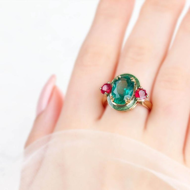 Art Deco Artdeco Style Emerald Cocktail Ring, Emerald and Ruby with Green Enameled Ring