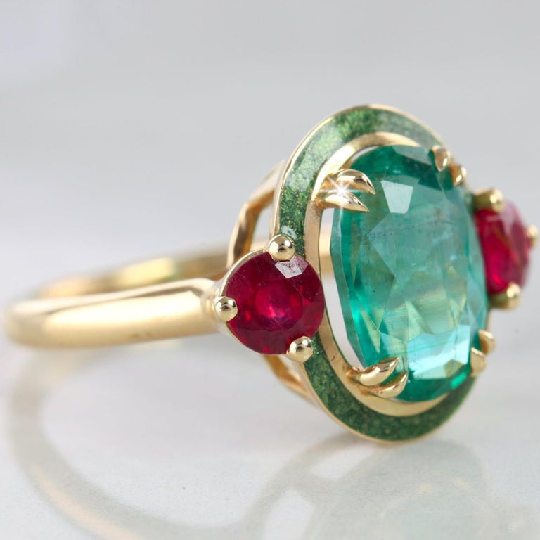 Oval Cut Artdeco Style Emerald Cocktail Ring, Emerald and Ruby with Green Enameled Ring