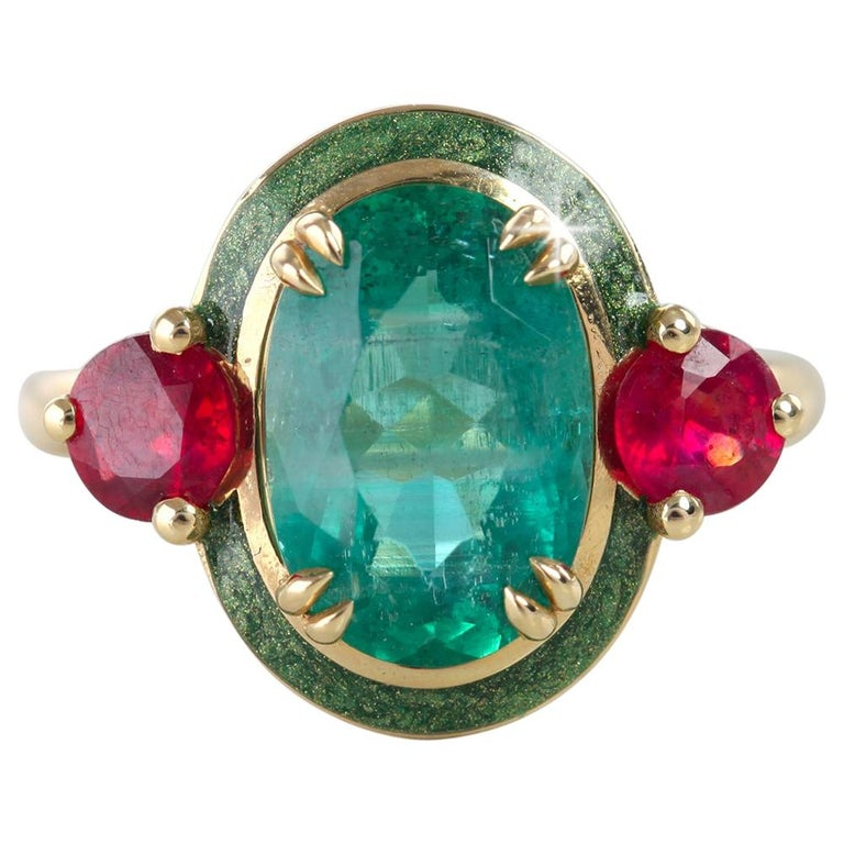Artdeco Style Emerald Cocktail Ring, Emerald and Ruby with Green Enameled Ring