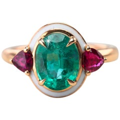 Artdeco Style Oval Emerald and Ruby with White Enameled Statement Ring