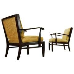 "Art Deco Wilhelm Knoll ""Antimott"" Armchairs with Bright Yellow Boucle Art Fabric"