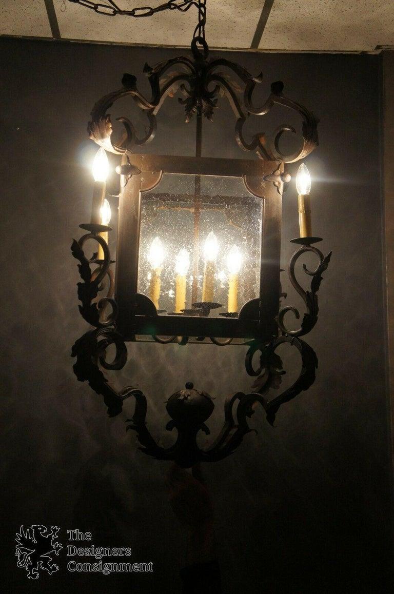 Glass Arte De Mexico Spanish Tuscan Iron Carriage Lantern Chandelier 8 Light Rustic For Sale