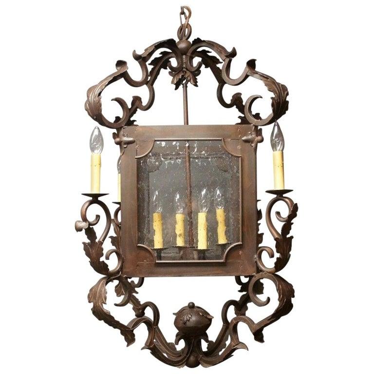 Arte De Mexico Spanish Tuscan Iron Carriage Lantern Chandelier 8 Light Rustic For Sale